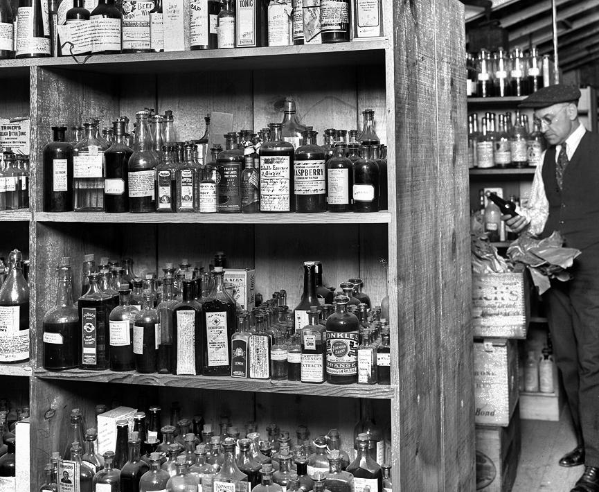 Almacén de bebidas durante la Ley Seca