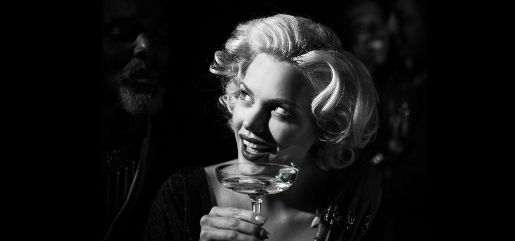 Marilyn drinking Brockmans